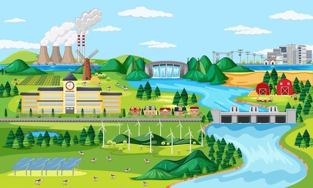 Fábrica y turbina eólica y escena de río largo.