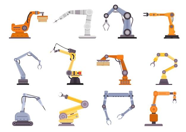 Fabricación de brazos robóticos, manipuladores y grúas para la industria manufacturera. herramienta de control mecánico plano, conjunto de vectores de equipos de tecnología de automatización. mano de maquinaria de producción, cargador innovador