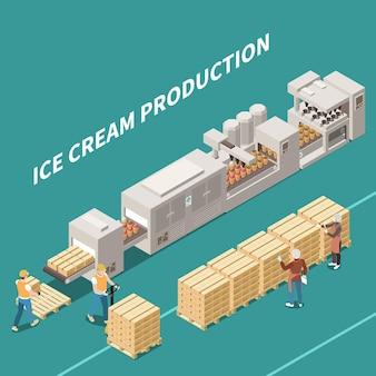 Fabricación de helados con personas que trabajan en una línea automática que produce una ilustración isométrica de postre congelado