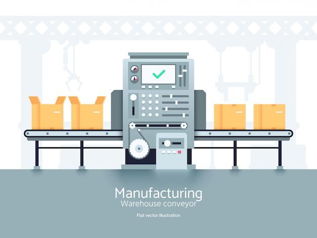 Fabricación de transportador de almacén. línea de producción de montaje plano vector concepto industrial.