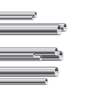 Fabricación de tubos metálicos. grupo de nuevos tubos de hierro