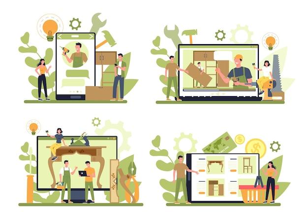Fabricante de muebles de madera o servicio en línea de diseñador o plataforma en un conjunto de concepto de dispositivo diferente
