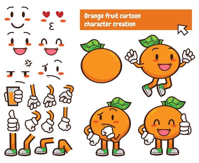 Fabricante personalizado de caracteres de fruta naranja