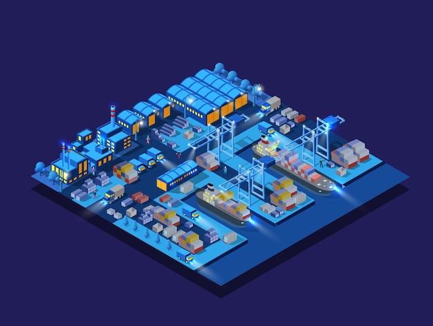 Las fábricas de barcos de barco de terraplén del puerto deportivo, noche de la industria de almacenes, neón, púrpura 3d de edificios isométricos urbanos