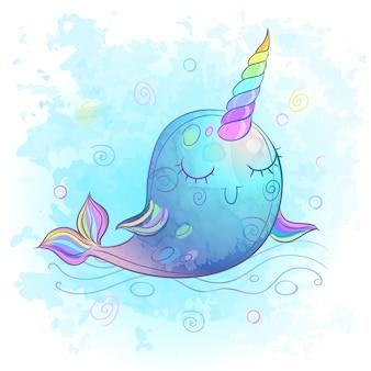 Fabulosa ballena de unicornio fabulosa. acuarela.