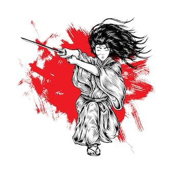 Fabuloso cabello largo samurai ataque con su katana
