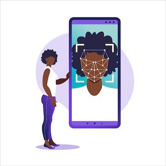 Face id, sistema de reconocimiento facial. escaneo del sistema de identificación biométrica facial en el teléfono inteligente. concepto de sistema de reconocimiento facial. aplicación móvil para reconocimiento facial.