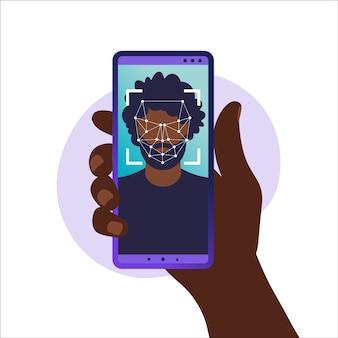 Face id, sistema de reconocimiento facial. escaneo del sistema de identificación biométrica facial en el teléfono inteligente. mano que sostiene el teléfono inteligente con cabeza humana y aplicación de escaneo en la pantalla. ilustración vectorial