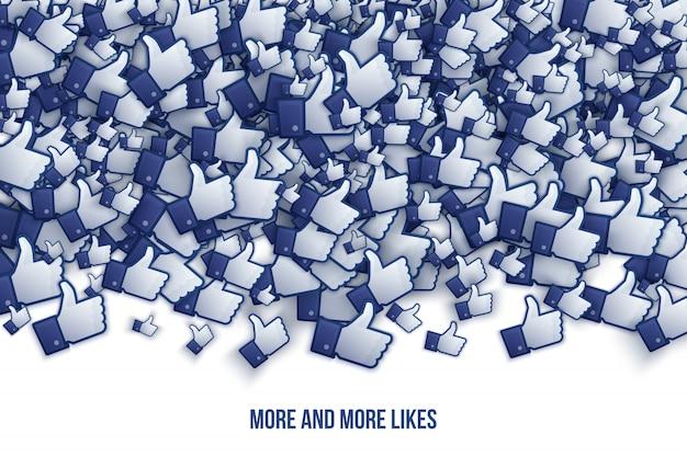 Facebook 3d tiene gusto de los iconos de la mano ilustración de arte