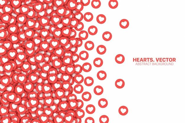 Facebook e instagram corazones dispersos iconos planos rojos borde aislado sobre fondo blanco.