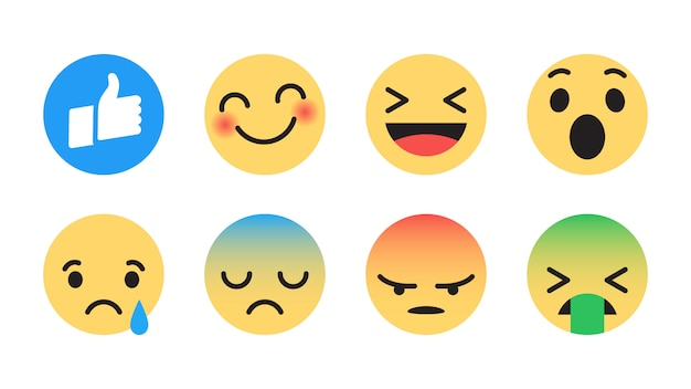 Facebook flat vector emoji set
