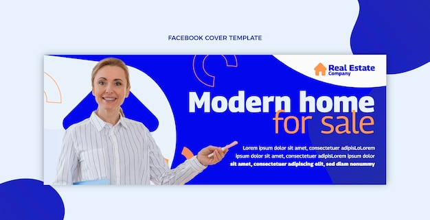 Facebook inmobiliaria geométrica abstracta plana