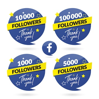 Facebook seguidores celebración banner y logo