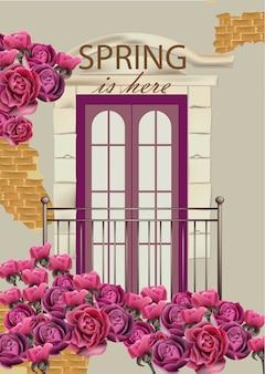 Fachada del balcón en la ilustración de flores
