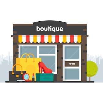 Fachada boutique. ilustración de una boutique en un estilo. caja y bolso de compras de ropa, zapatos, tacones, cosméticos. ilustración