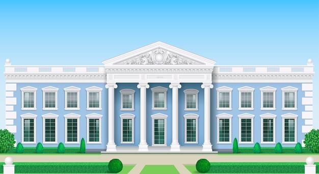 La fachada clásica de un edificio público.