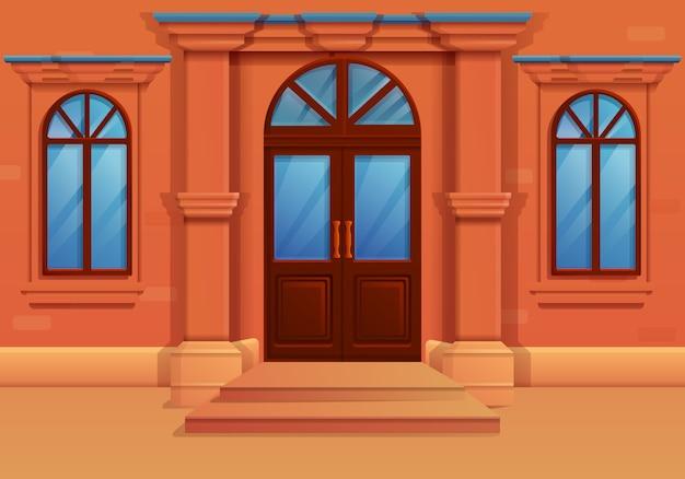 Fachada de dibujos animados de una casa antigua, ilustración vectorial