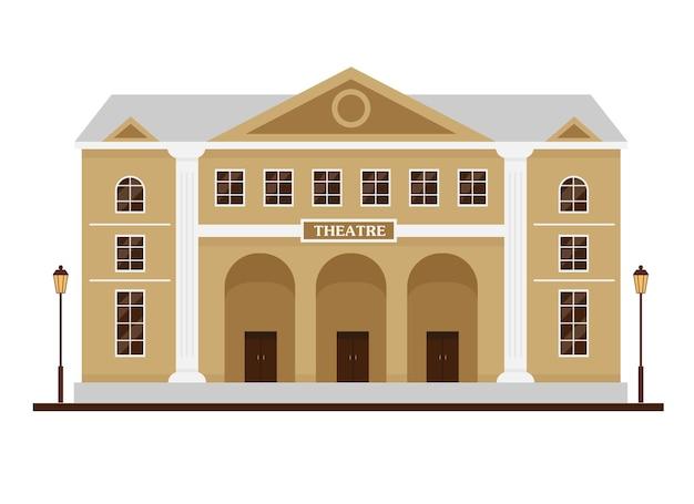 Fachada del edificio del teatro. casa con altas columnas de estilo clásico para el diseño de la ciudad.