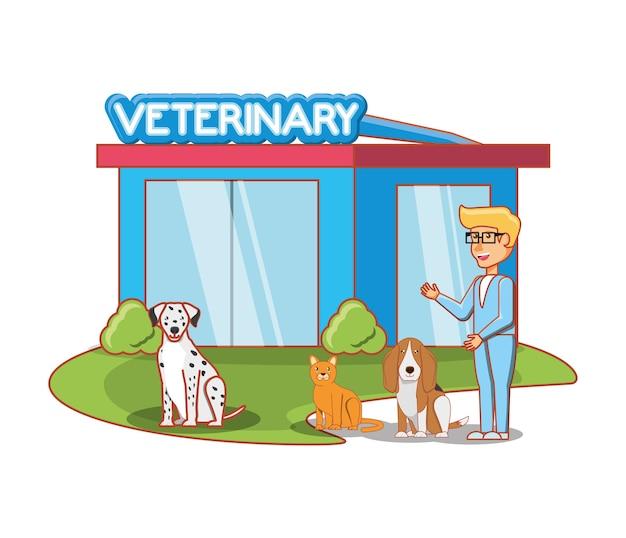 Fachada de edificio veterinario con animales
