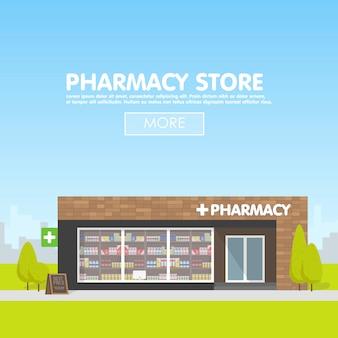 Fachada de farmacia en lo urbano, venta de medicamentos y pastillas.
