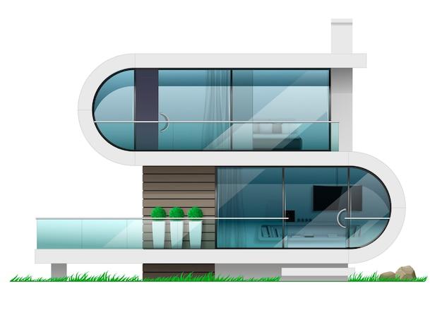 Fachada de una moderna casa futurista.