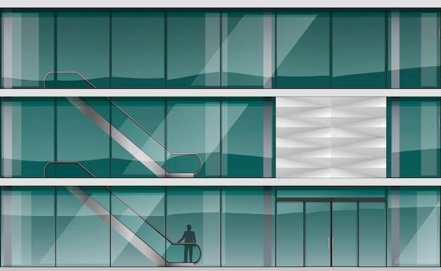 Fachada de un moderno centro comercial.