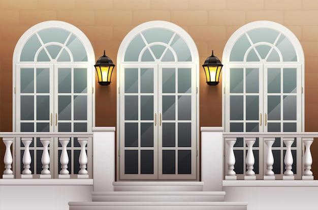 Fachada de palacio clásico con porche de puerta de vidrio y terraza con balaustrada realista