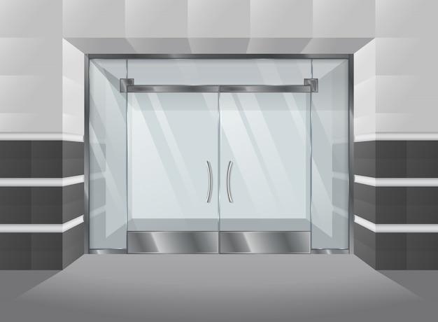 Fachada realista de centro comercial con puertas y ventanas de vidrio. ilustracion vectorial