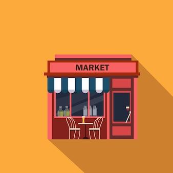 Fachada de restaurantes y tiendas, escaparate detallado plano