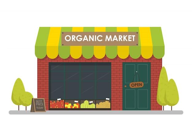 Fachada de la tienda del mercado orgánico. concepto de plantilla para el sitio web, publicidad y ventas.