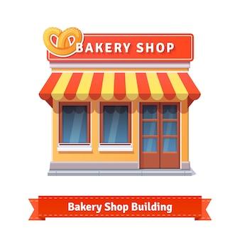 Fachada de la tienda de la panadería con letrero