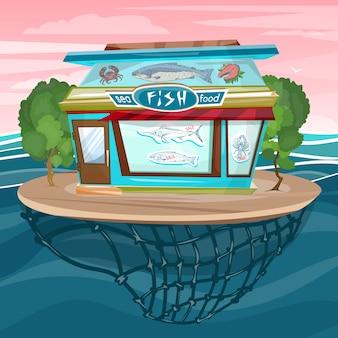 Fachada de la tienda de pescado dibujos animados mar comida edificio vector