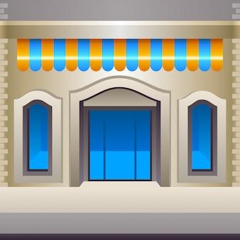 Fachada de la tienda, vista frontal