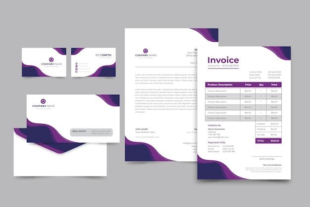 Factura corporativa en papel y tarjeta de presentación