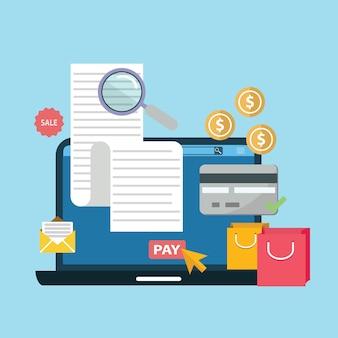 Factura digital en línea portátil o portátil con billetes tarjeta de crédito dinero monedas ilustración plana
