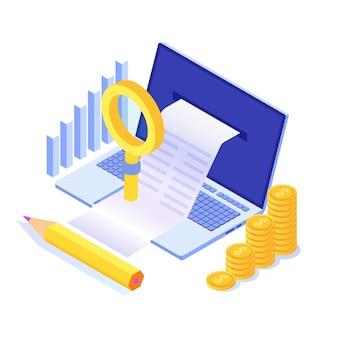 Factura digital, recibo electrónico o ilustración de factura isométrica. las compras en línea.