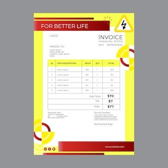 Factura de electricista con costos