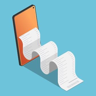Factura financiera isométrica 3d plana sale del teléfono inteligente. pago electrónico móvil y concepto de banca por internet.