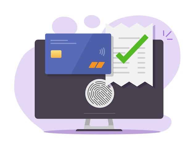 Factura de pago electrónico factura en línea a través de tarjeta bancaria de crédito con identificación de huella digital táctil en la computadora de escritorio
