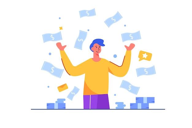 Las facturas de dinero caen sobre un empresario y se regocija con la felicidad, el dinero, el éxito, aislado.