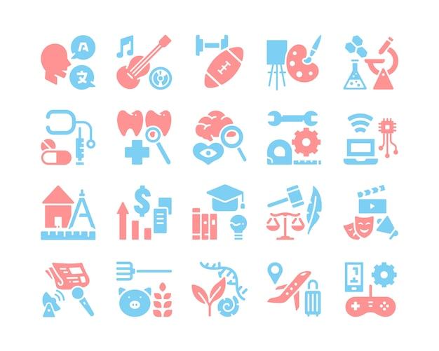 Facultad de conjunto de iconos de la universidad
