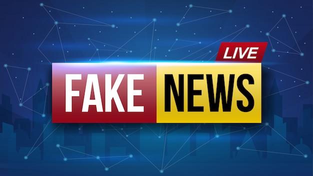 Falsas noticias en directo transmitiendo pantalla de televisión.