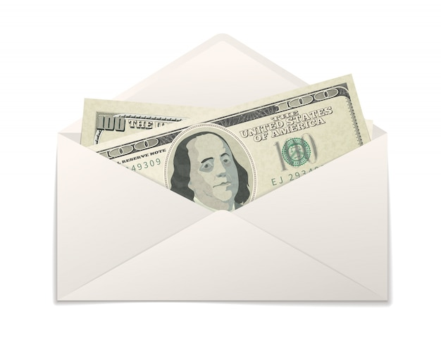 Falsos dos billetes de cien dólares estadounidenses en sobre de papel blanco sobre blanco