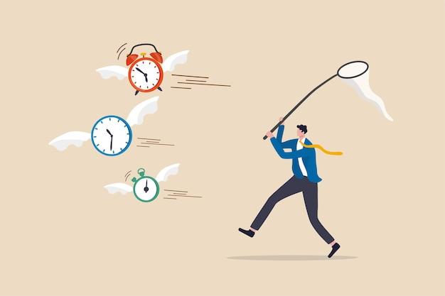 La falta de tiempo o quedarse sin tiempo, la cuenta regresiva para la fecha límite del proyecto de trabajo o el tiempo es algo valioso en el concepto de vida