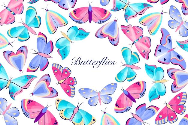 Fama de mariposas de colores sobre fondo blanco
