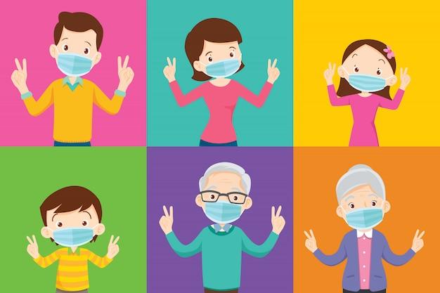 Familia y abuelo con máscara médica protectora