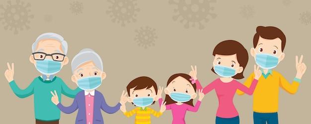 Familia y abuelos con máscara médica protectora