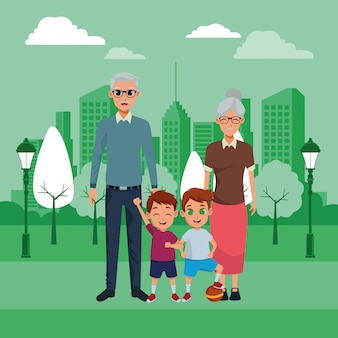 Familia abuelos y nietos dibujos animados.