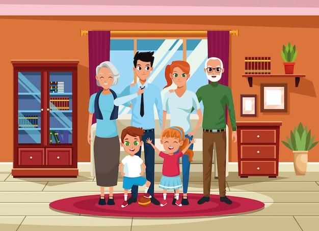 Familia abuelos, padres y niños dibujos animados.