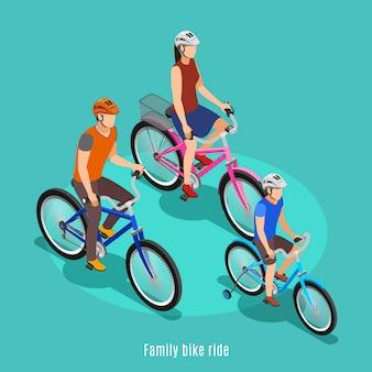 Familia activa isométrica con padre hijo e hija montando bicicleta en cascos ilustración vectorial